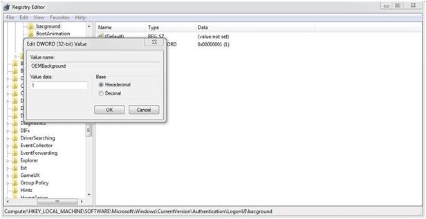 value data Change Custom Logon Screen