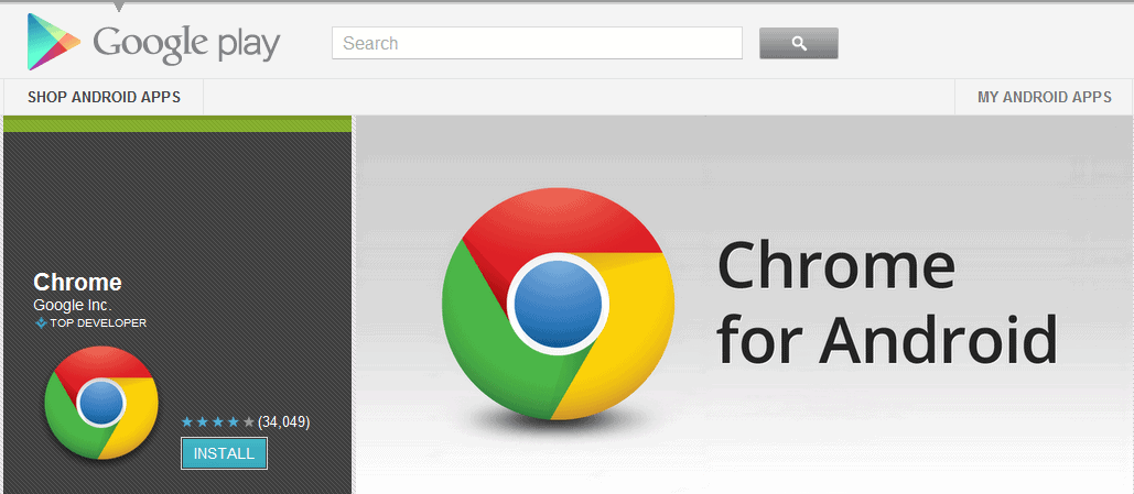 Chrome available in Google Play store