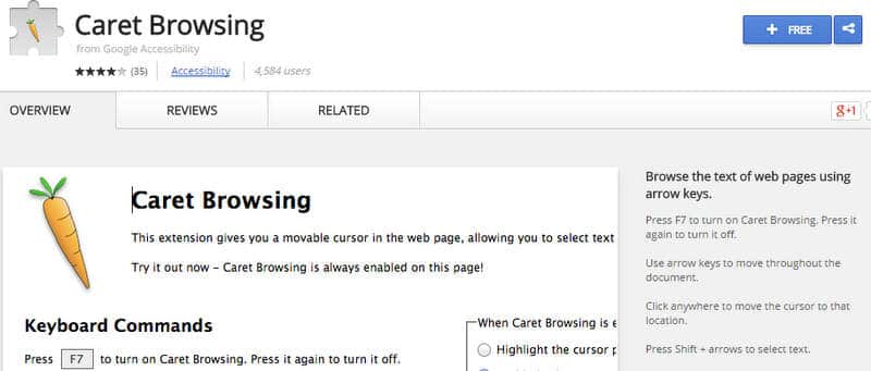 Smooth Webpage Navigation Using Chrome's Caret Browsing Extension